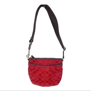New coach jacquard red brown signature crossbody